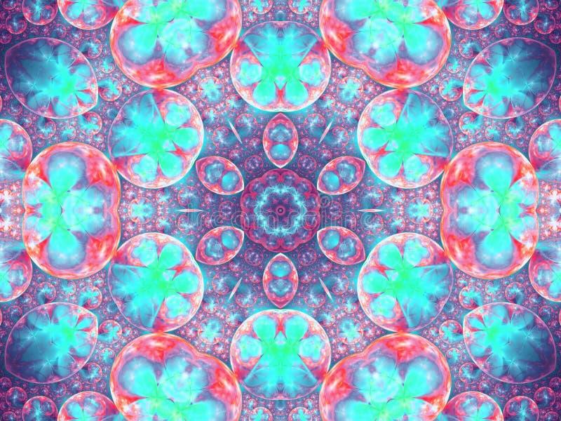 Abstrakcjonistyczny fractal kwitnie w sferach ilustracja wektor
