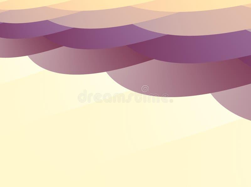Abstrakcjonistyczny fractal z warstwami pokrywać się nieregularnego owal kształtuje w koloru żółtego, pomarańcze i purpur odcieni ilustracji