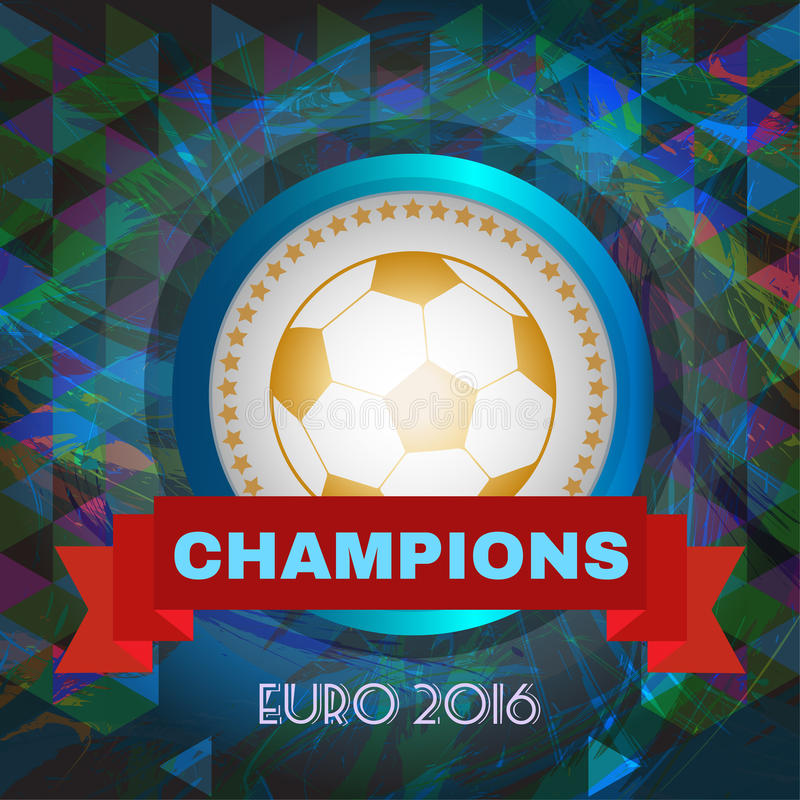 Abstrakcjonistyczny futbol, piłka nożna i mistrzowie infographic, 2016, bawić się balowego i czerwonego faborek ilustracji