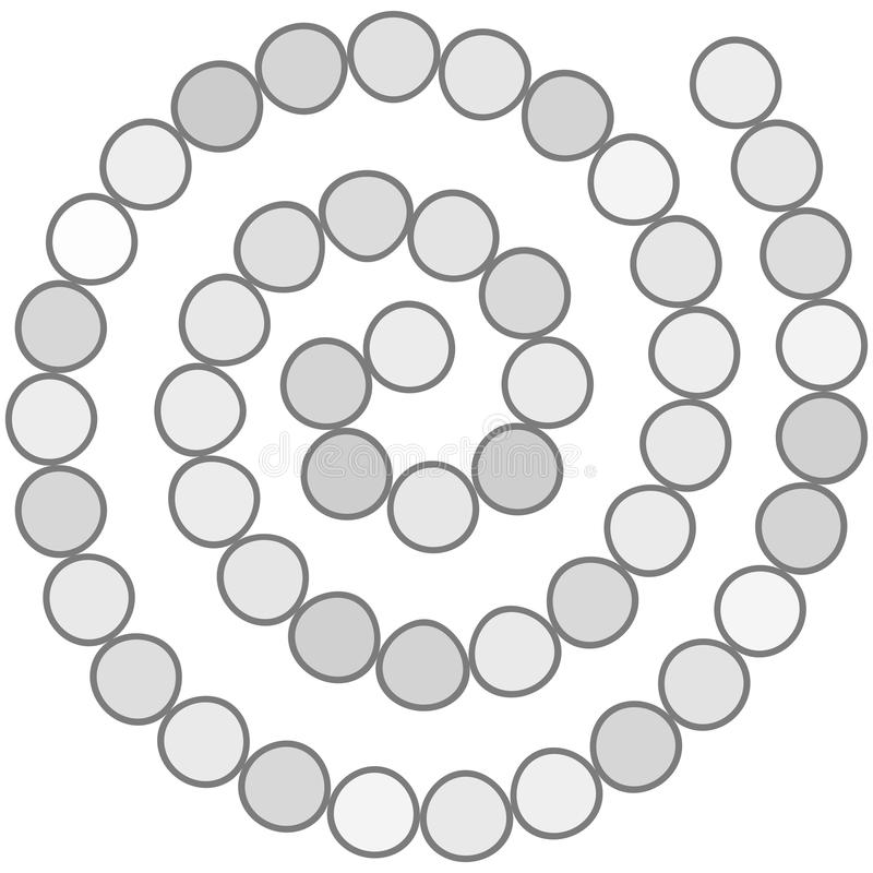 Abstrakcjonistyczny futurystyczny ślimakowaty labirynt, deseniowy szablon dla dziecka ` s gier, białego okręgu Popielaty kontur o ilustracja wektor
