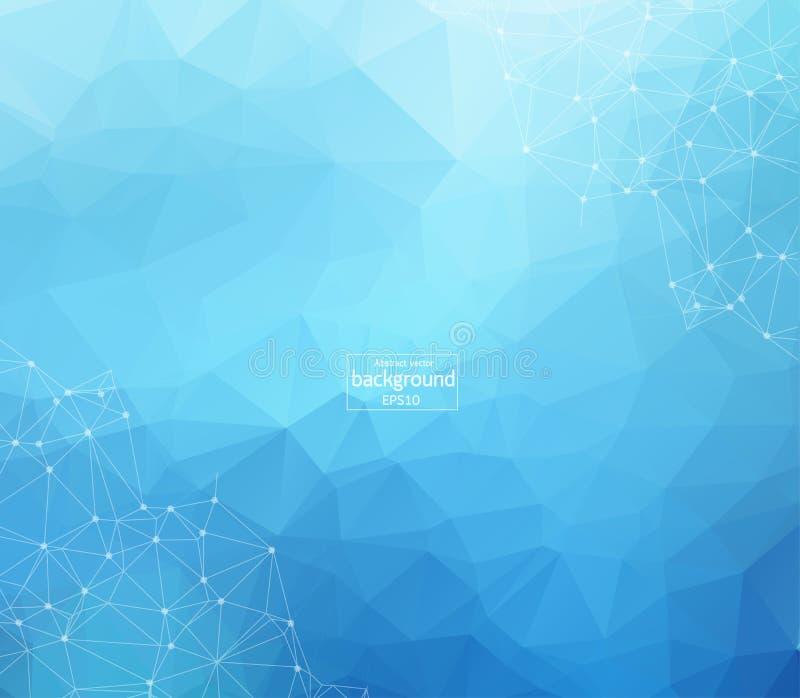 Abstrakcjonistyczny futurystyczny błękitny tło - molekuły technologia z liniowymi i poligonalnymi deseniowymi kształtami na zmrok royalty ilustracja