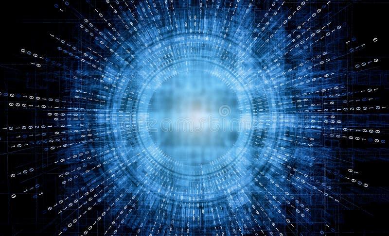 Abstrakcjonistyczny futurystyczny cyfrowego systemu technologii tło, HUD interfejs od binarnego kodu matryca w tle royalty ilustracja