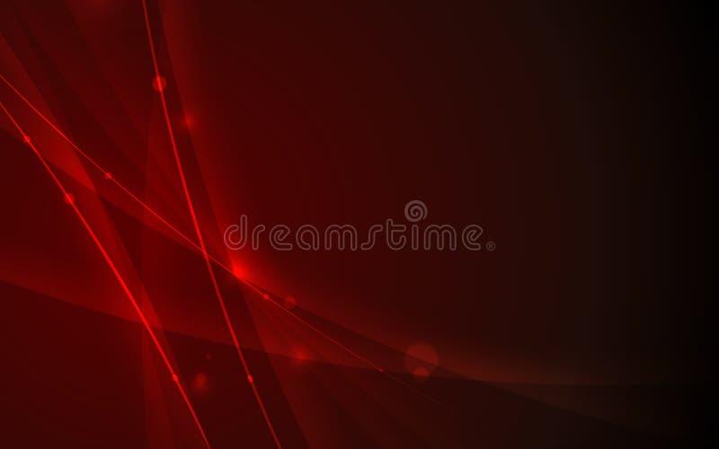 Abstrakcjonistyczny futurystyczny linii krzywy element na czerwonym tło technologii pojęciu royalty ilustracja