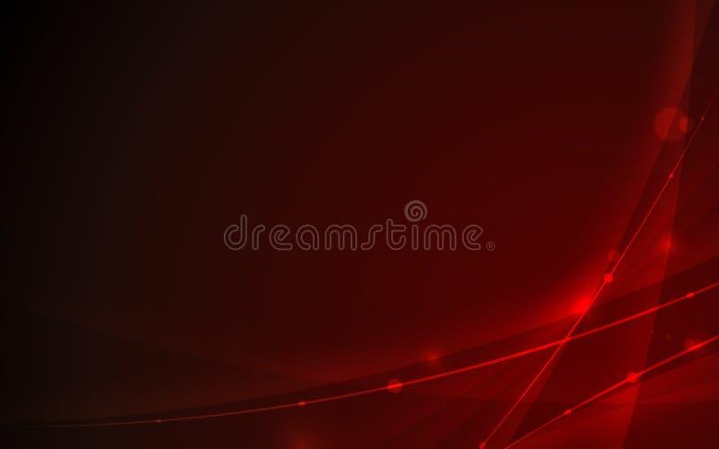 Abstrakcjonistyczny futurystyczny linii krzywy element na czerwonym tło technologii pojęciu ilustracji