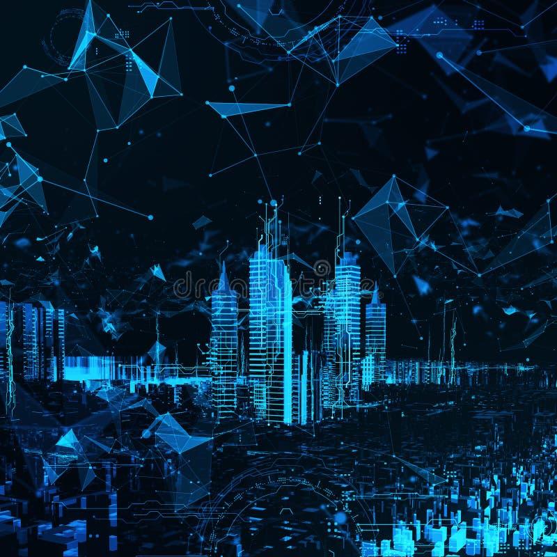 Abstrakcjonistyczny futurystyczny miasto royalty ilustracja
