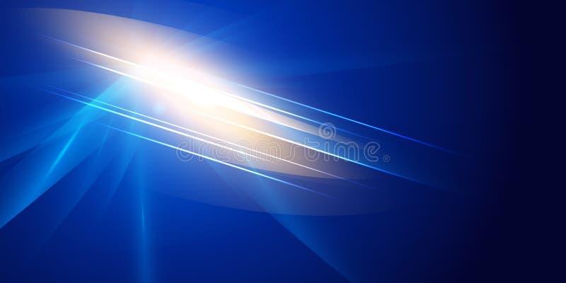 Abstrakcjonistyczny futurystyczny oświetleniowy skutek na zmroku - błękitny tło Kolorowy obiektywu racy, gwiazdy, wybuchu i zasil royalty ilustracja