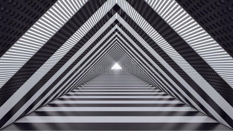 Abstrakcjonistyczny futurystyczny prędkość tunel 3d odpłaca się 3d ilustrację royalty ilustracja