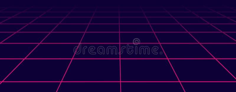 Abstrakcjonistyczny futurystyczny siatek 1980s styl Wektorowy ilustraci 80s przyj?cia t?o 80s fantastyka naukowa Retro t?o ilustracji