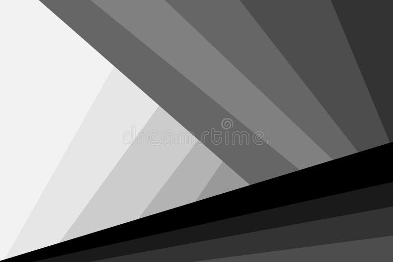 Abstrakcjonistyczny futurystyczny tło czarny i biały wektor - lampasy i trójboki - royalty ilustracja