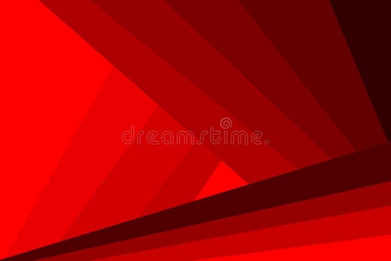 Abstrakcjonistyczny futurystyczny tło czerwony wektor - lampasy i trójboki - ilustracji