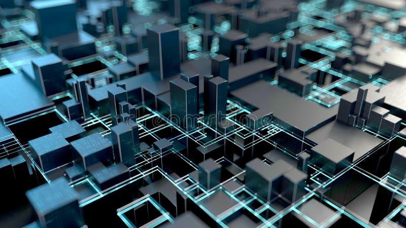 Abstrakcjonistyczny futurystyczny tło z błękitną neonową iluminacją obraz royalty free