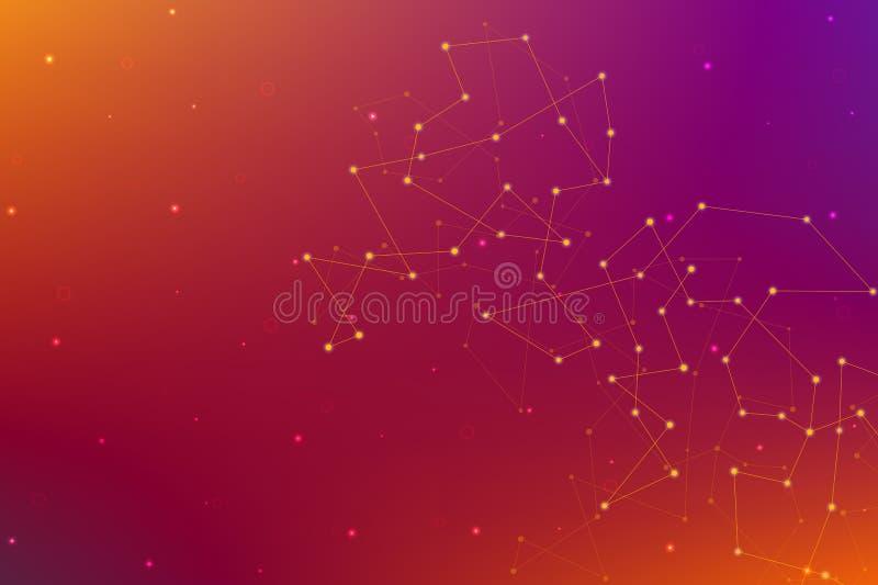 Abstrakcjonistyczny futurystyczny tło z kropkami i liniami Cząsteczkowe cząsteczki i atomy, poligonalna liniowa cyfrowa tekstura ilustracja wektor