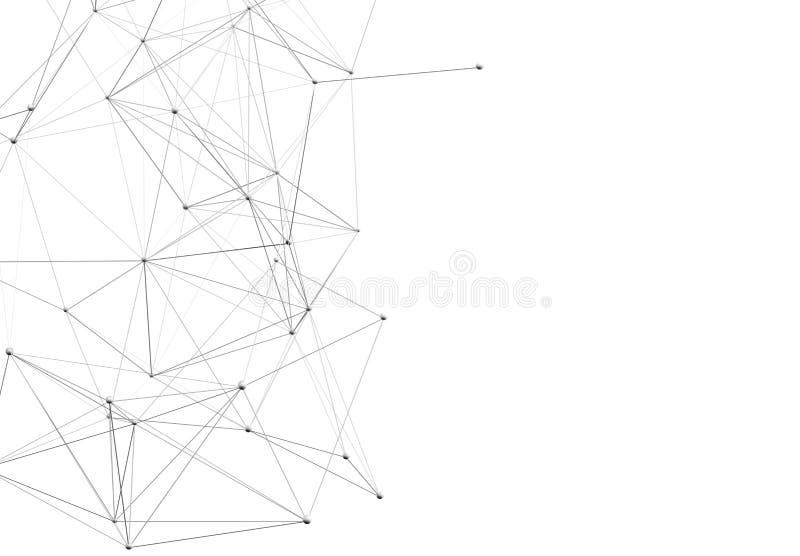 Abstrakcjonistyczny futurystyczny tło z poligonalnymi plexus kształtami ilustracja 3 d ilustracji