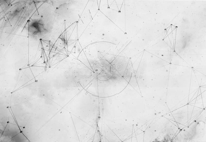 Abstrakcjonistyczny futurystyczny tło z poligonalnymi plexus kształtami ilustracja 3 d ilustracja wektor
