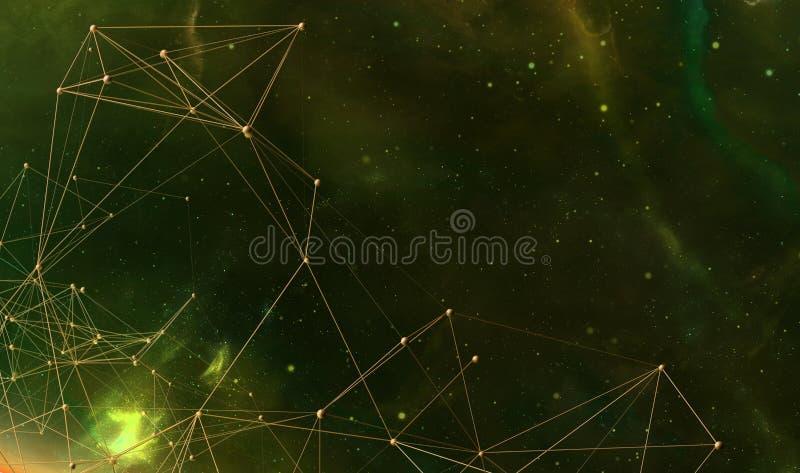 Abstrakcjonistyczny futurystyczny tło z poligonalnymi plexus kształtami ilustracja 3 d royalty ilustracja
