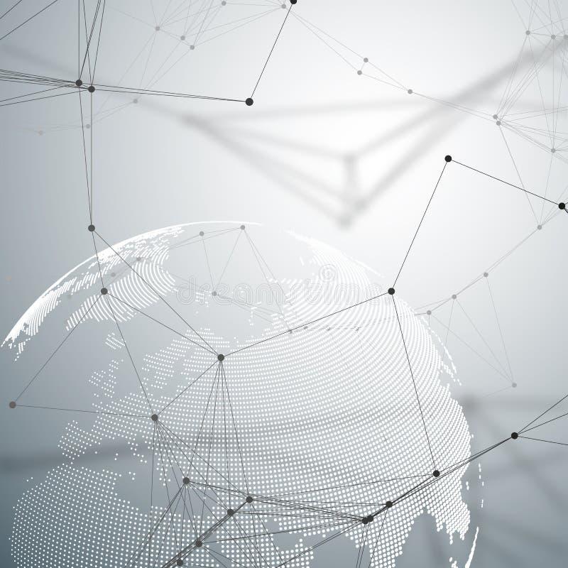 Abstrakcjonistyczny futurystyczny tło z złączonymi liniami i kropkami, poligonalna liniowa tekstura Światowa kula ziemska na szar royalty ilustracja
