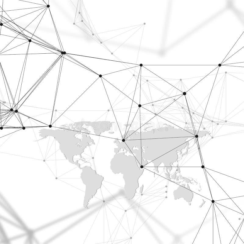 Abstrakcjonistyczny futurystyczny tło z złączonymi liniami i kropkami, poligonalna liniowa tekstura Światowa mapa na bielu global ilustracji