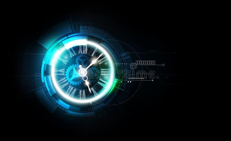 Abstrakcjonistyczny Futurystyczny technologii tło z Zegarową pojęcia i czasu maszyną, wektorowa ilustracja ilustracja wektor