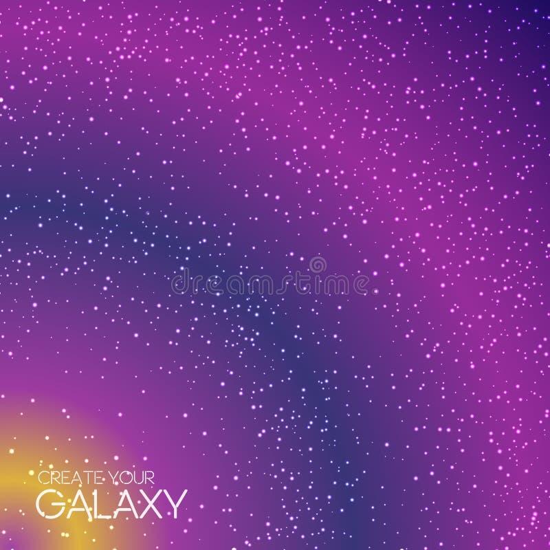 Abstrakcjonistyczny galaxy tło z milky sposobem, stardust, mgławicą i jaskrawymi jaśnienie gwiazdami, Pozaziemska wektorowa ilust obrazy royalty free