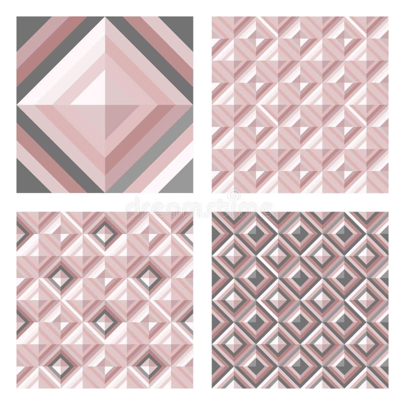 Abstrakcjonistyczny geo wzór w rumieniec menchii kolorach Set 3D powierzchni tła ilustracja wektor
