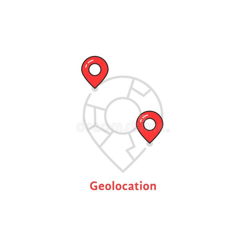 Abstrakcjonistyczny geolocation logo z mapy szpilką royalty ilustracja