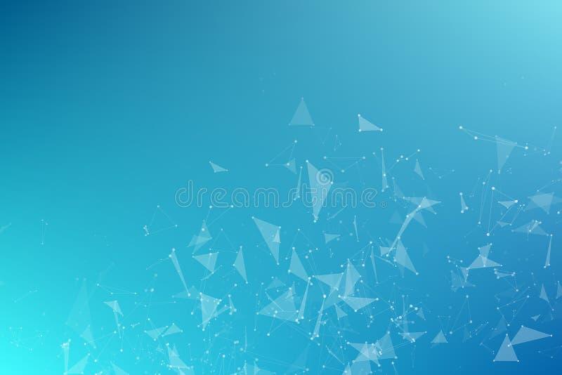 Abstrakcjonistyczny geometrical błękitny tło latający trójboki Związani trójboki plexus Tło dla twój projekta Wektorowy illustrat ilustracja wektor