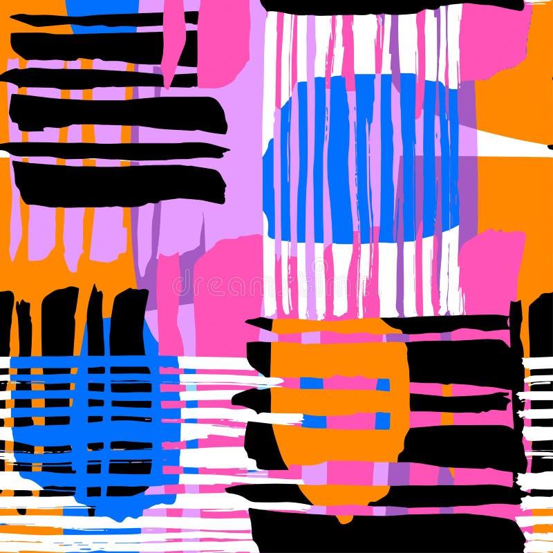 Abstrakcjonistyczny geometrical bezszwowy szorstki grunge wzór, nowożytny desig royalty ilustracja
