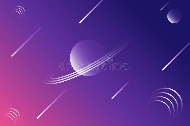Abstrakcjonistyczny geometrical gwiaździstej nocy przestrzeni zmrok - błękitny gradientowy tło z meteorem i planetą, ilustracji