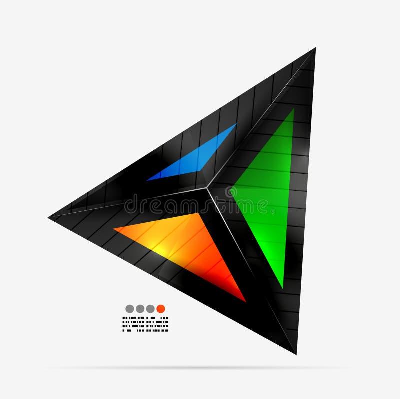 Abstrakcjonistyczny geometrical kształt - kolorowy trójbok ilustracji