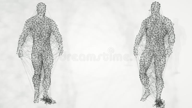 Abstrakcjonistyczny geometrical plexus mężczyzna Plexus związku tło świadczenia 3 d ilustracji