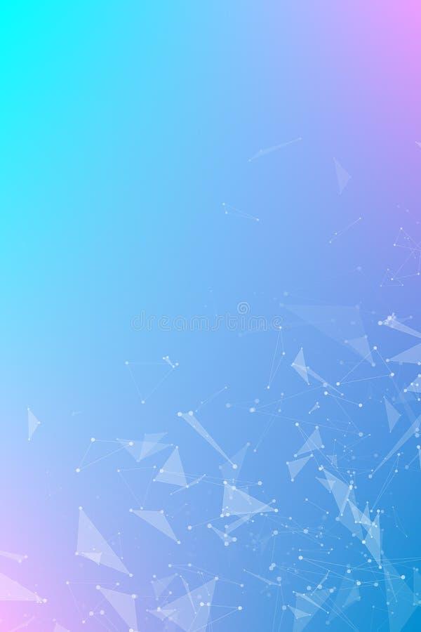 Abstrakcjonistyczny geometrical purpurowy błękitny pionowo tło latający trójboki Związani trójboki plexus Tło dla twój projekta V ilustracja wektor