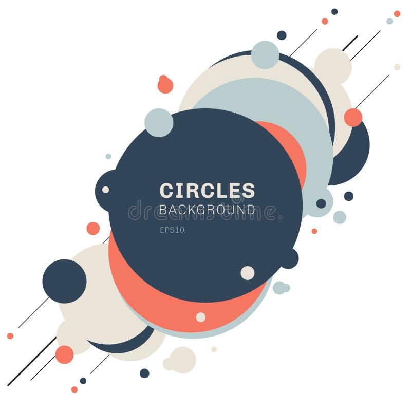 Abstrakcjonistyczny geometryczny błękit, pomarańcze, okrąża kształta wzoru projekt z diagonalnymi liniami na białym tle Ty możesz royalty ilustracja