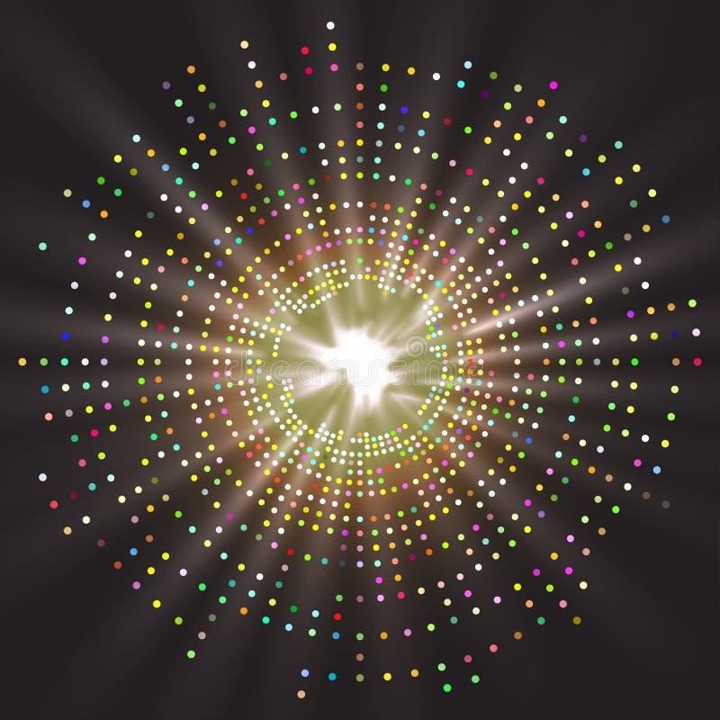 Abstrakcjonistyczny geometryczny barwiony technologia kształt rozjarzone cząsteczki ilustracji
