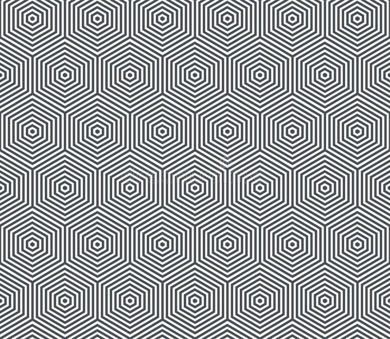 Abstrakcjonistyczny geometryczny bezszwowy deseniowy tło Wektorowa sześciokąt linii siatka, honeycomb deseniowy tło ilustracji