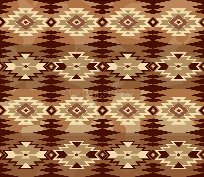Abstrakcjonistyczny geometryczny bezszwowy wzór z aztec ornamentem ethnic royalty ilustracja