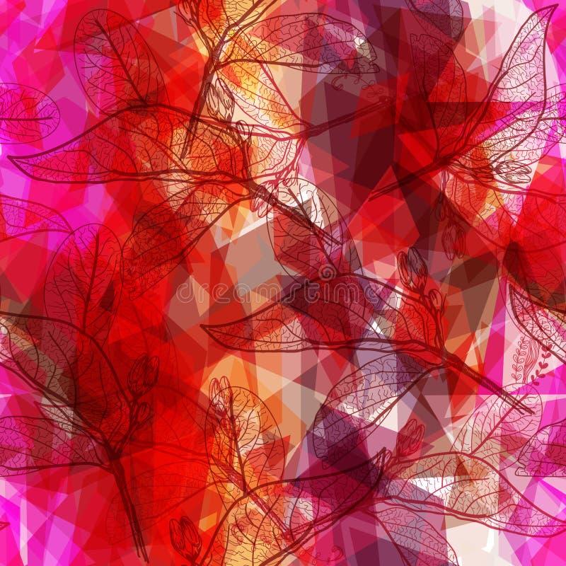 Abstrakcjonistyczny geometryczny bezszwowy wzór z liśćmi obrysowywa rhombus dekoracyjnych współczesnych elementy różowy pomarańcz ilustracja wektor