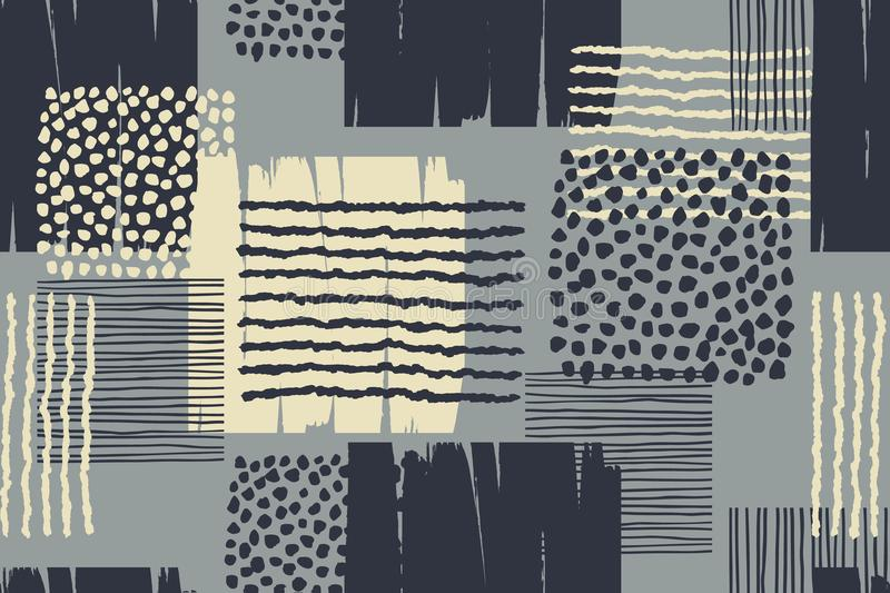 Abstrakcjonistyczny geometryczny bezszwowy wzór z modna ręka rysować teksturami royalty ilustracja