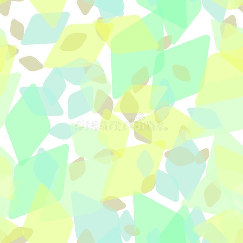 Abstrakcjonistyczny geometryczny bezszwowy wzór z rhombus i genialnymi dekoracyjnymi współczesnymi elementami liście, kwiecisty d ilustracja wektor