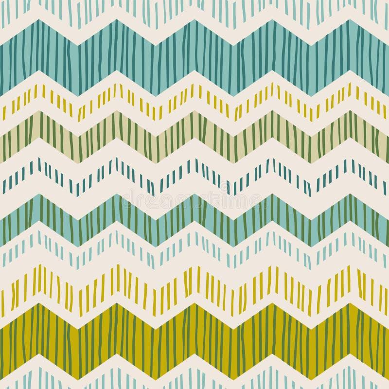 Abstrakcjonistyczny geometryczny bezszwowy wzór z zygzag Modna ręka rysować tekstury royalty ilustracja