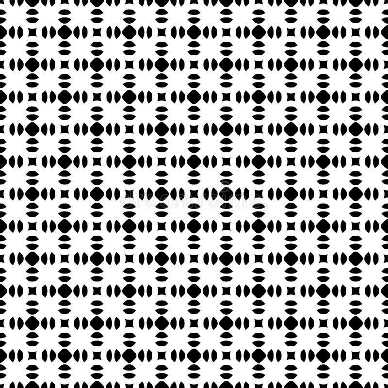 Abstrakcjonistyczny geometryczny czarny & biały bezszwowy wzór, prosty rounde ilustracji