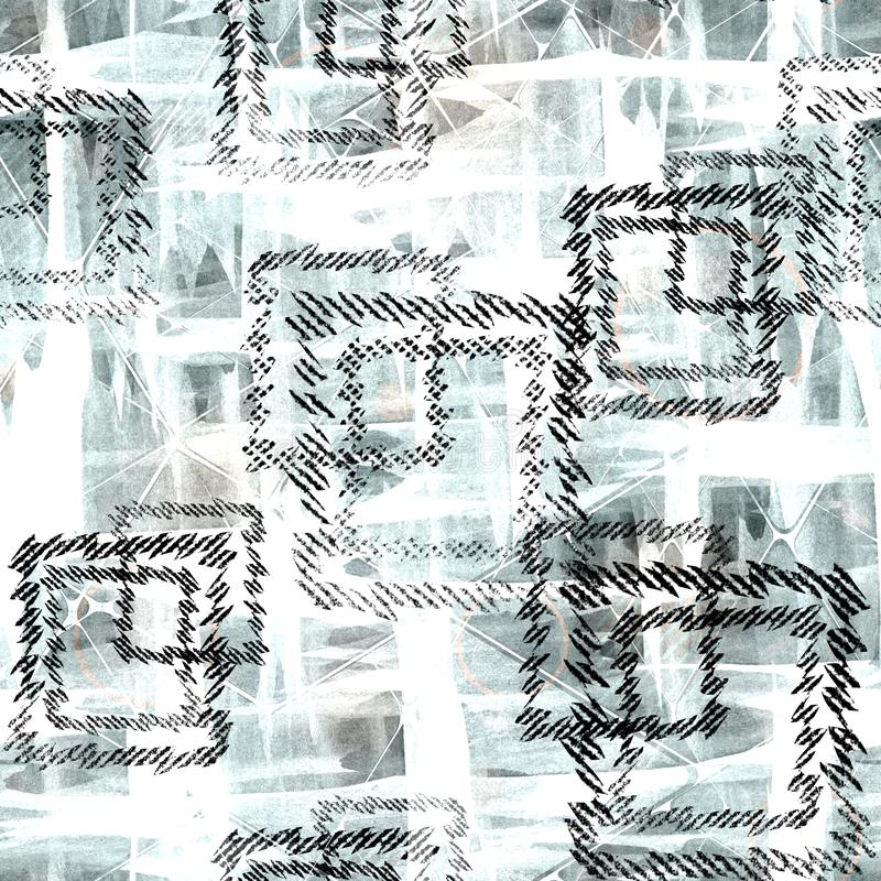 abstrakcjonistyczny geometryczny deseniowy bezszwowy Czarni kwadraty na bławym tle ilustracji