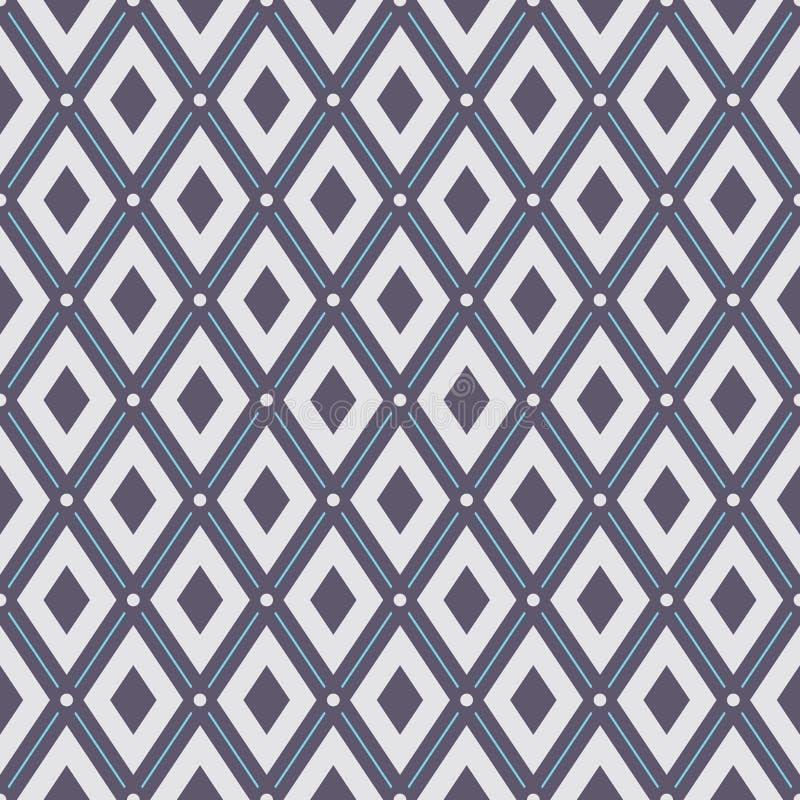 abstrakcjonistyczny geometryczny deseniowy bezszwowy Regularnie częstotliwi rhombuses z kropkami ilustracji