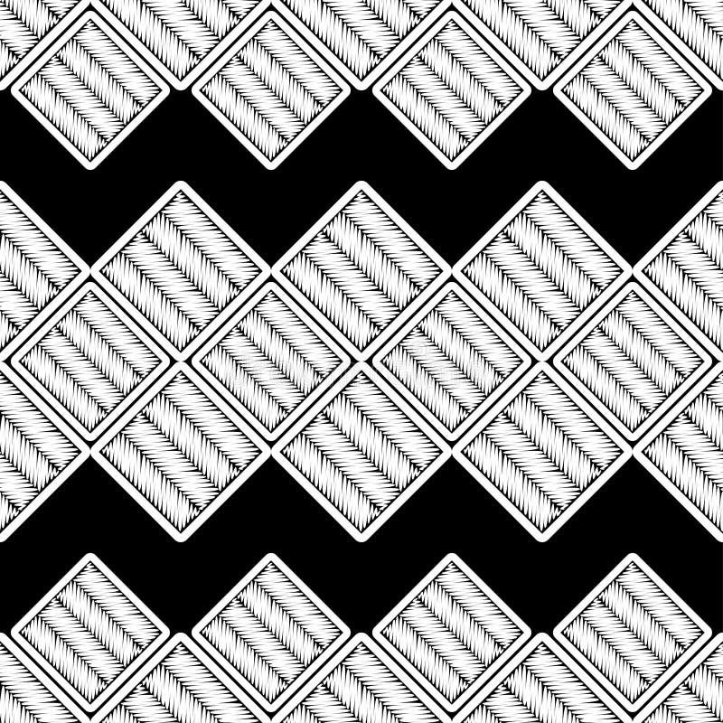 abstrakcjonistyczny geometryczny deseniowy bezszwowy tło był może używać mozaiki tekstura brushwork Ręki kluć się Skrobaniny teks royalty ilustracja