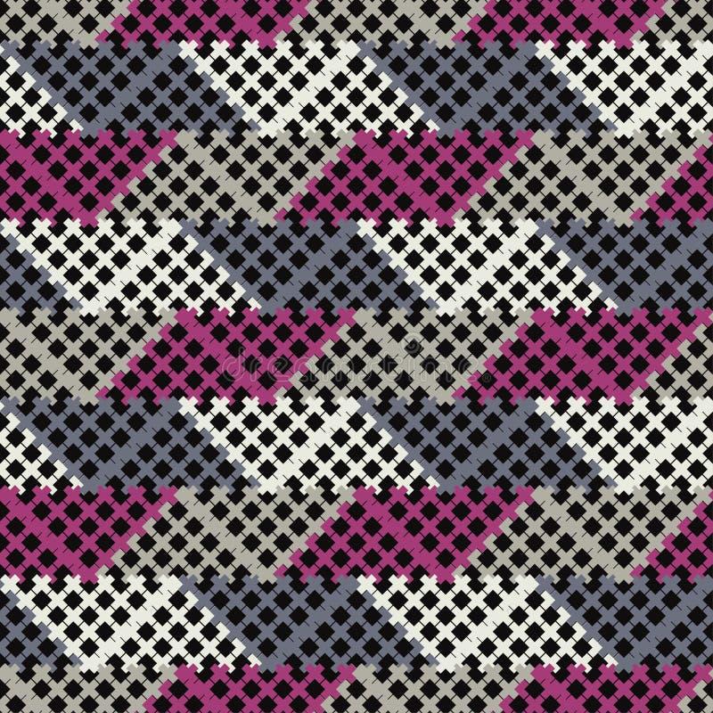 abstrakcjonistyczny geometryczny deseniowy bezszwowy tło był może używać mozaiki tekstura Tekstura z krzyżami ilustracji