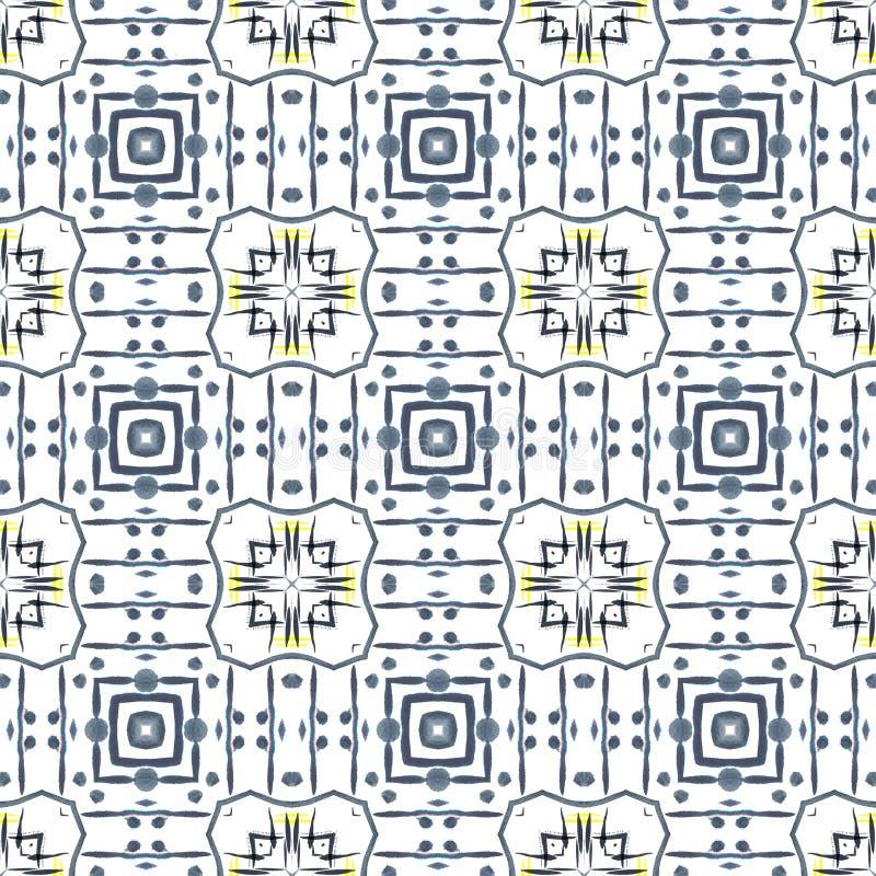 abstrakcjonistyczny geometryczny deseniowy bezszwowy Tło z akwareli farby muśnięcia plamą i uderzeniami kalejdoskop ilustracja wektor