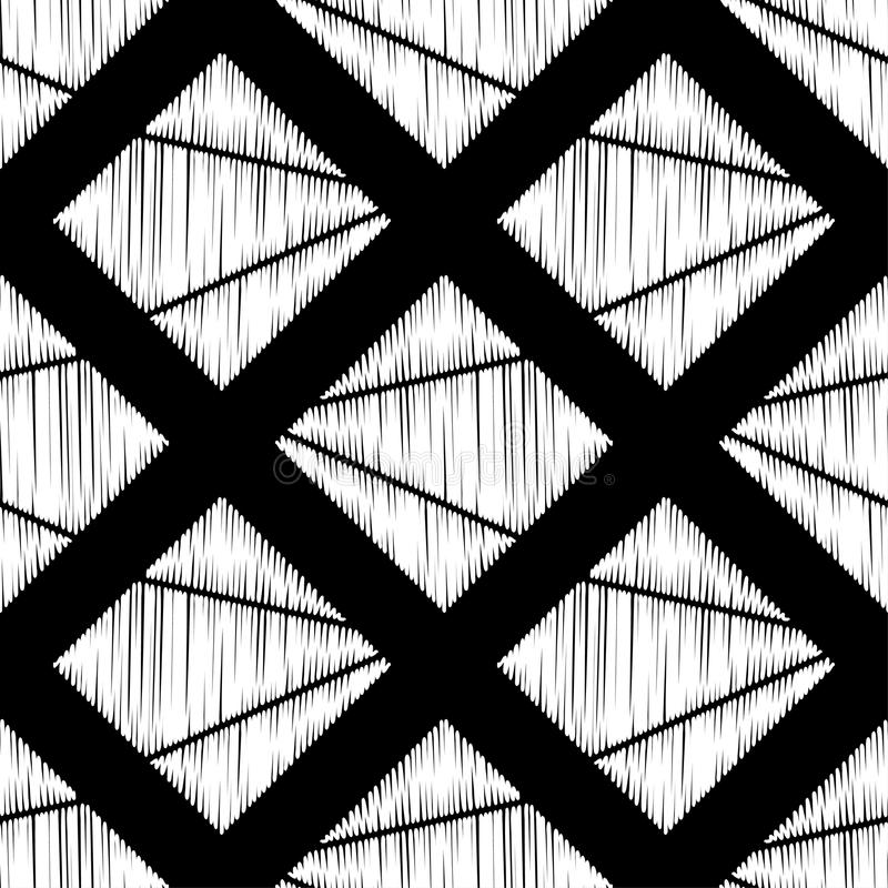 abstrakcjonistyczny geometryczny deseniowy bezszwowy Tekstura rhombus brushwork Ręki kluć się Skrobaniny tekstura royalty ilustracja