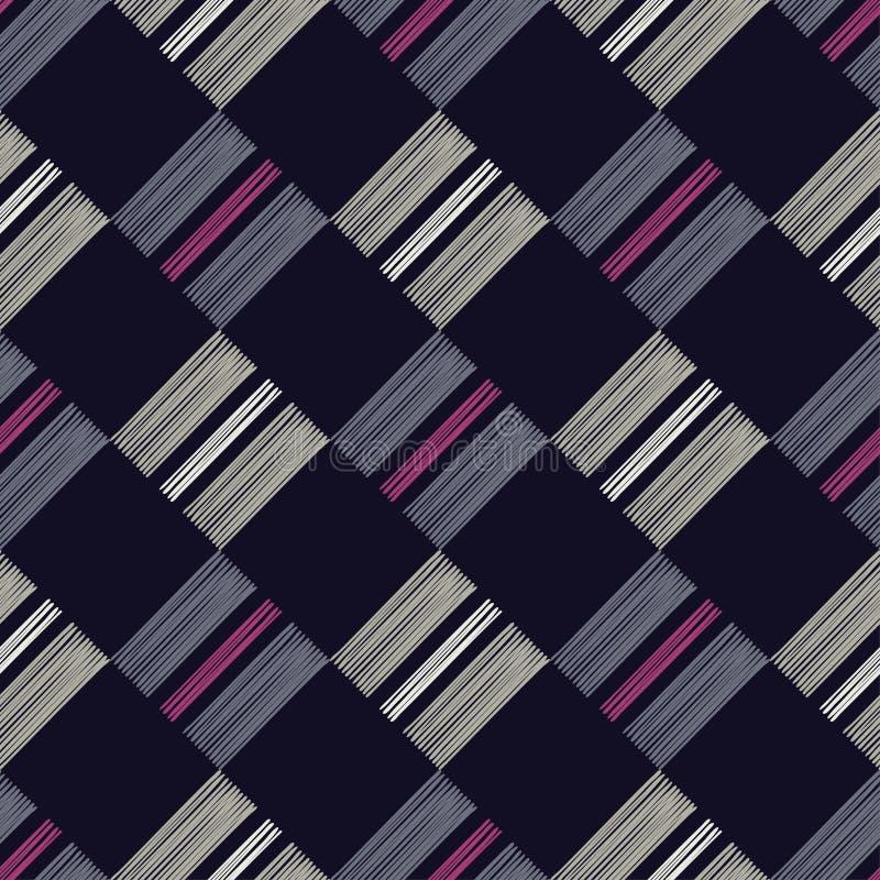 abstrakcjonistyczny geometryczny deseniowy bezszwowy Tekstura rhombus Ręczny kluć się Skrobaniny tekstura ilustracja wektor