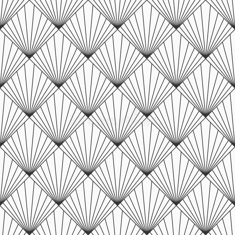 Abstrakcjonistyczny geometryczny deseniowy bezszwowy wzór Pasiaści rhombuses Art Deco sunburst wzór Wektorowy monochromatyczny tł royalty ilustracja