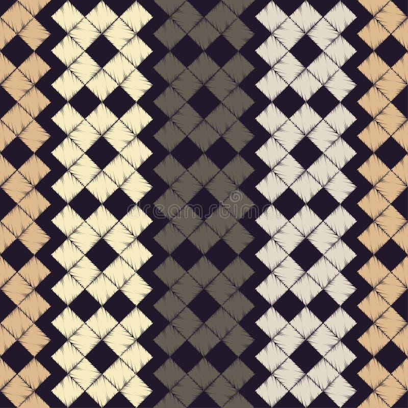 abstrakcjonistyczny geometryczny deseniowy bezszwowy Wzór piksle tło był może używać mozaiki tekstura brushwork Ręki kluć się Skr royalty ilustracja
