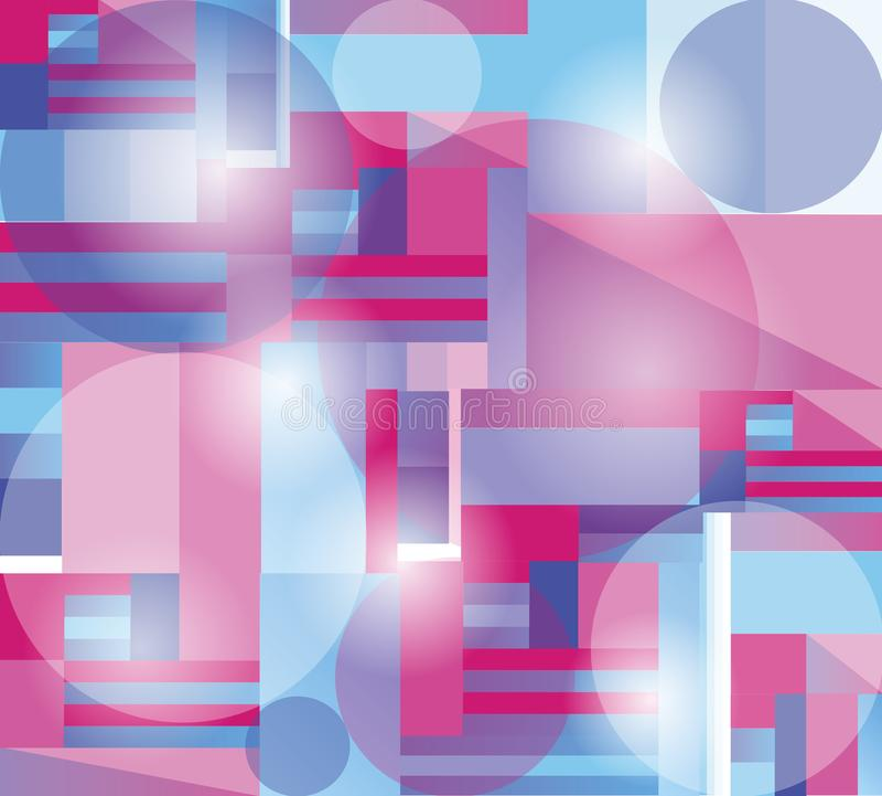 abstrakcjonistyczny geometryczny deseniowy tło w menchii i błękita brzmieniach ilustracja wektor